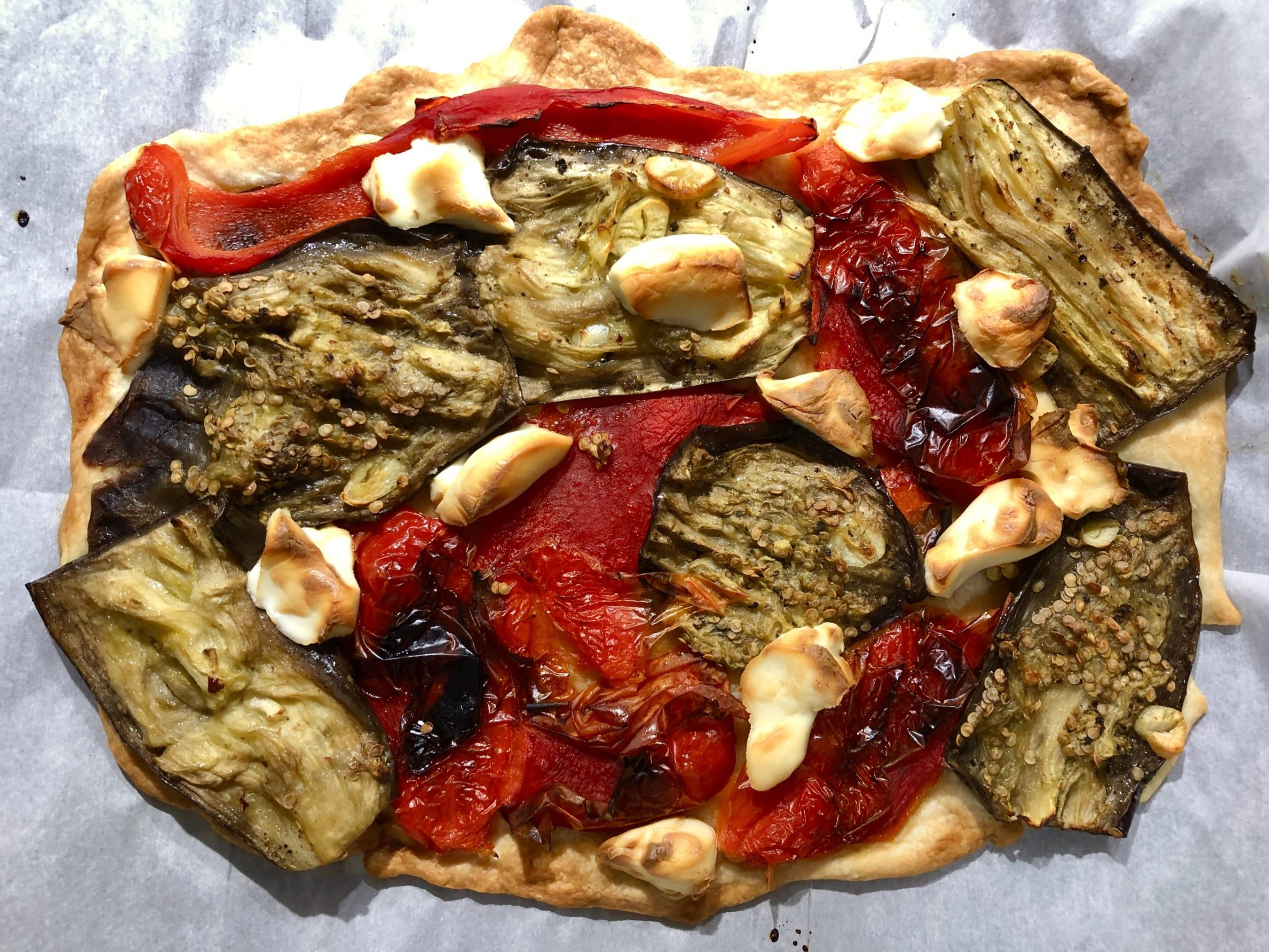 Galette with peppers, aubergines and goat cheese