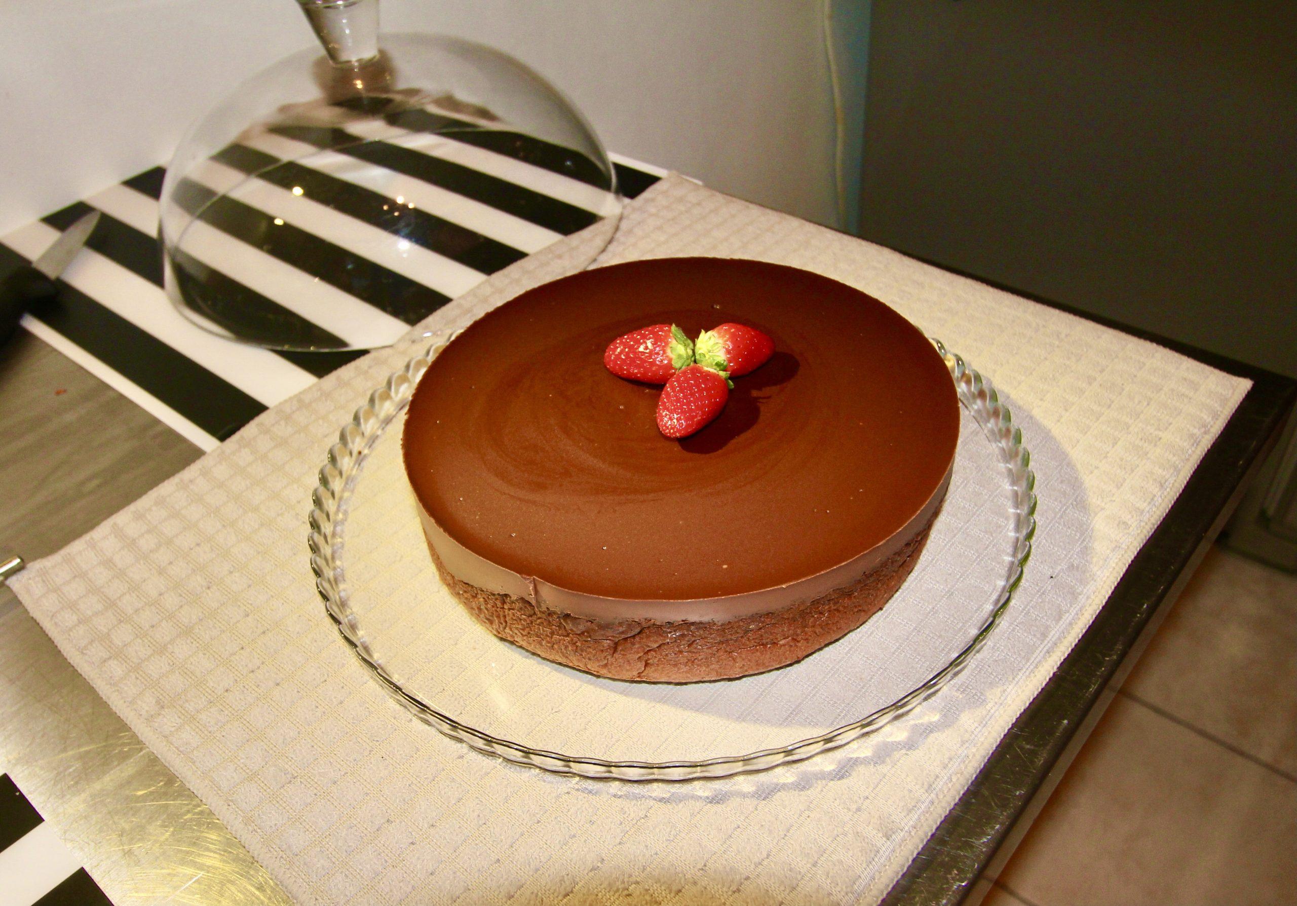 Rich chocolate cake with hazelnuts