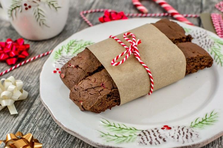 Chocolate Candy Cane Biscotti