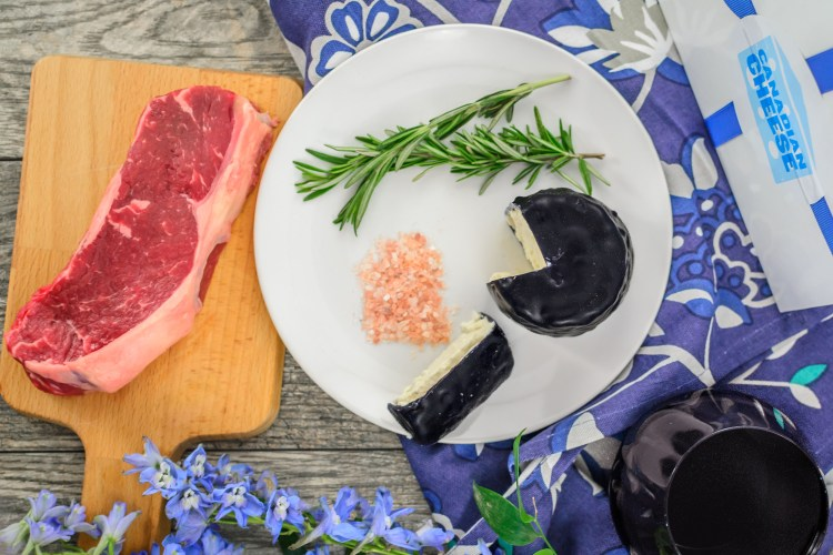Rosemary, pink Himalayan salt and blue cheese