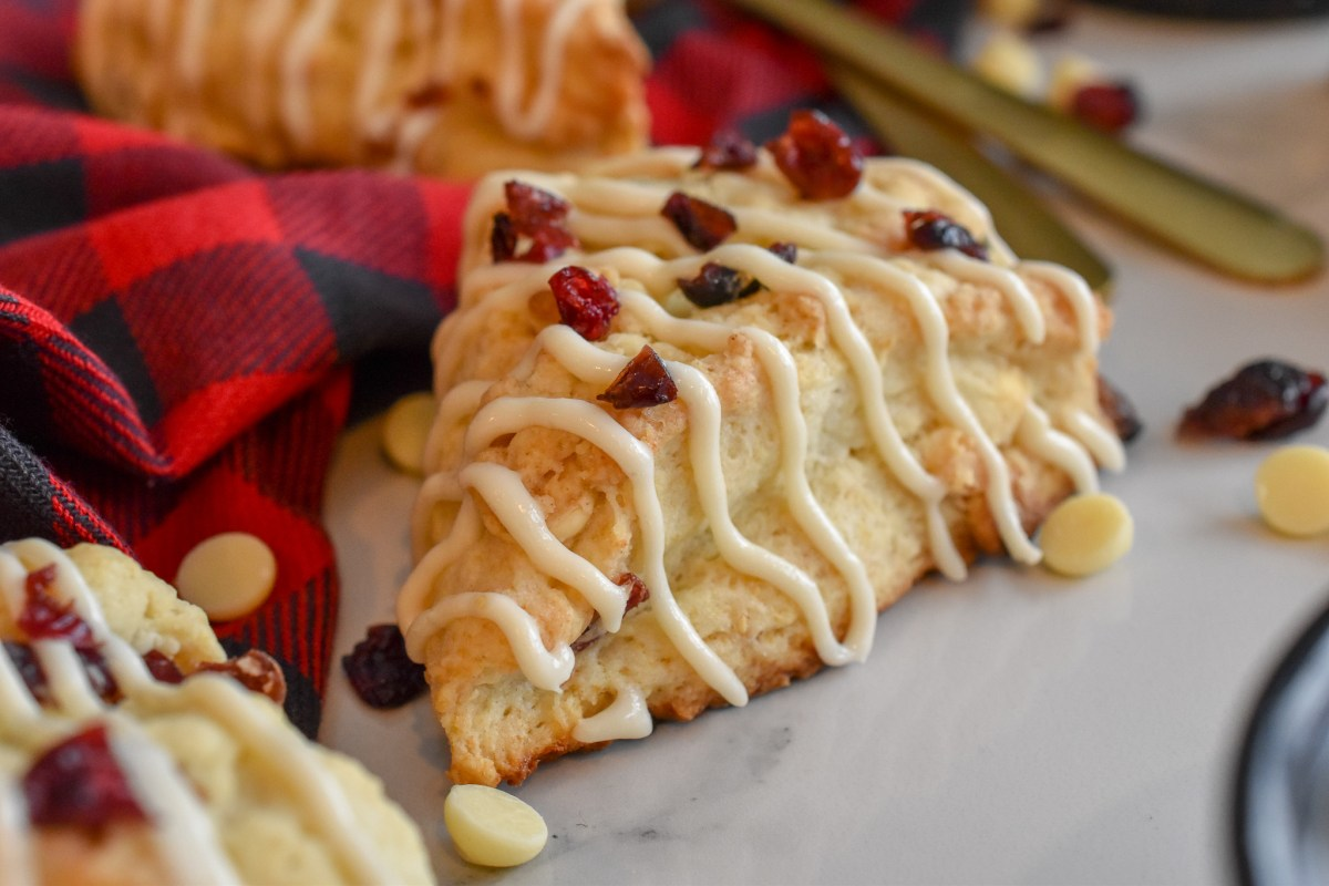 White Chocolate Cranberry Scones with Cream Cheese Icing