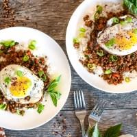 Pork, Egg & Holy Basil Rice Bowls