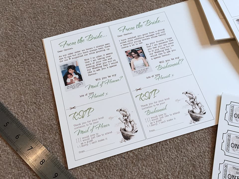 Printing and cutting out our wedding stationery at home