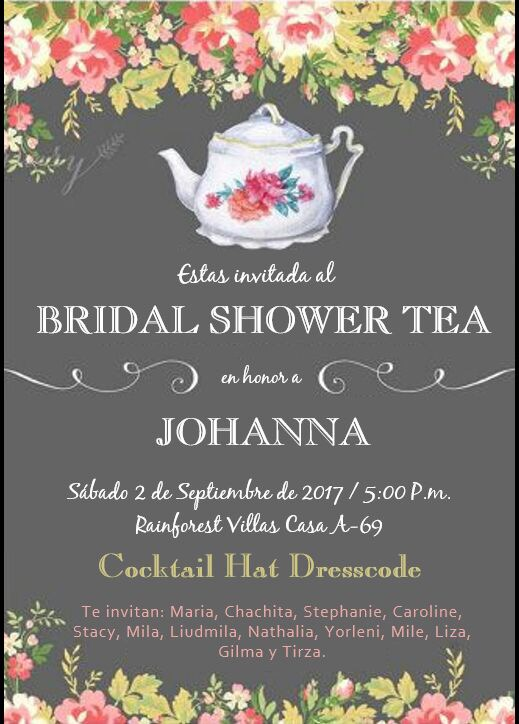 Invitación al Bridal Shower de Johanna