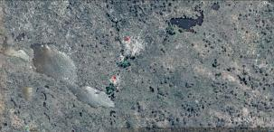 Google Earth image of dead (red points) and alive (green points) Pencil Pines. Central Plateau, Tasmania.