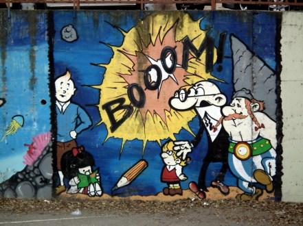 Tintín y Mafalda en el mural