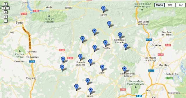 Mapa pobles lluçanès