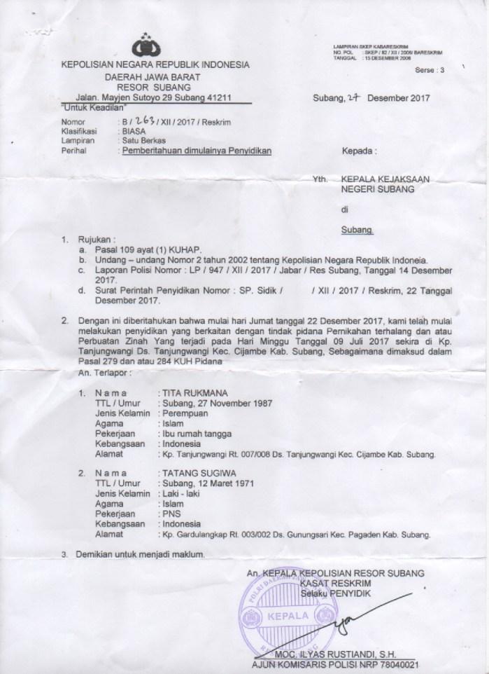 Polisi Kirim SPDP Kasus Oknum Pegawai Kec. Pagaden Kawini Isteri Orang ke Kejaksaan