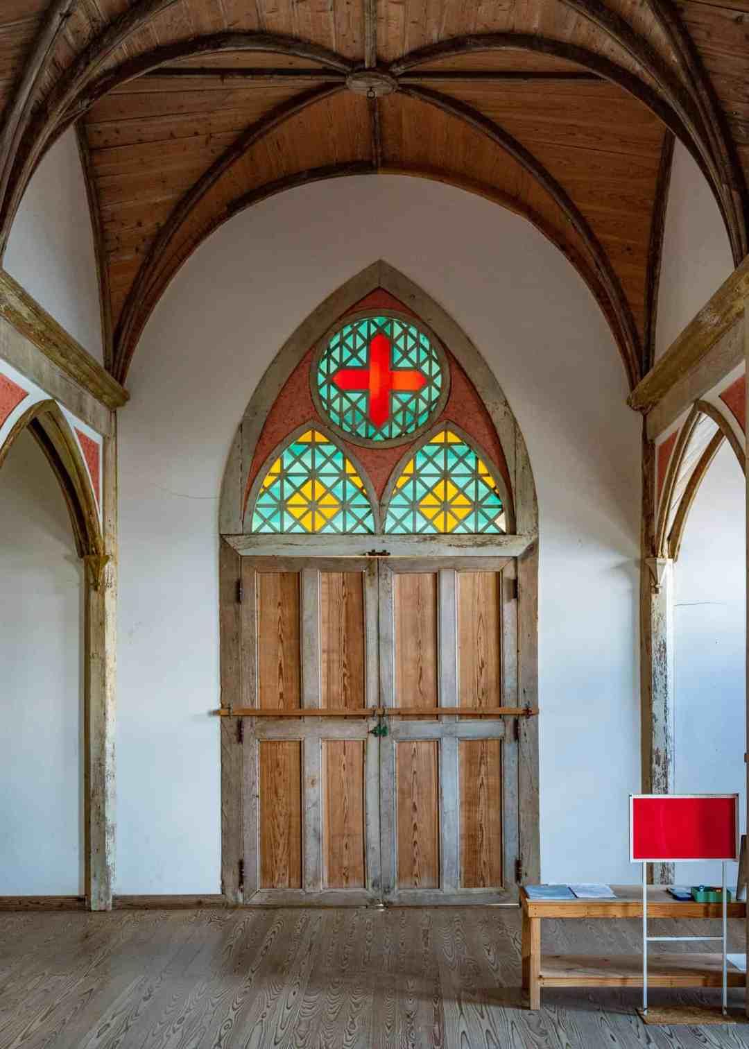 door of the former gorin church in the goto islands