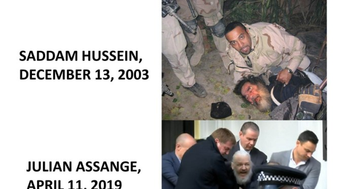 Propaganda arrests: Saddam Hussein and Julian Assange.