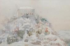 Slava Raškaj - Ozalj u snijegu, akvarel, oko 1899.; 34x51