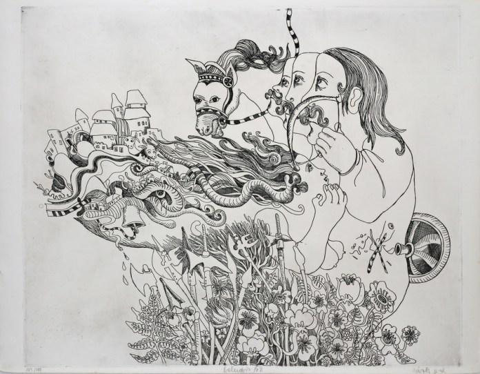 Nives Kavurić-Kurtović - Bez naslova, 1972. (iz grafičke mape Kervave kronike glas), bakropis; 65,5x50,5