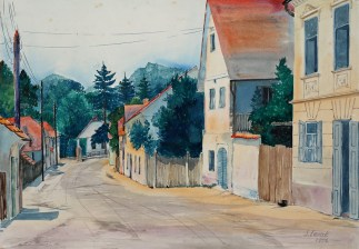 Smiljka Levak - Starogradska ulica, akvarel, 1957.; 41x57cm