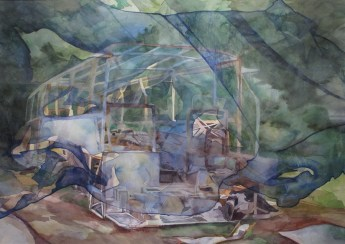 Između dvije strane, 2014., akvarel na papiru