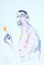 Autoportret sa šafranom, 1994.; akvarel, crtež