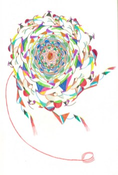 Iz serije crteža Jezgra, 1998., drvene boje na papiru