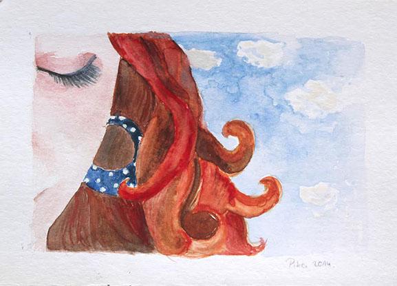 Nikolina Knežević - Head in the Clouds; akvarel, 2014.
