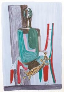 Dječak s mačkom (16), 1950-1955, tempera, močilo/papir; 86x61cm