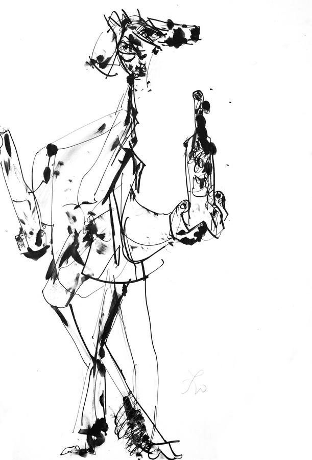 Iz krčme (1395), 1948-50, tuš, močilo/papir; 50x35cm