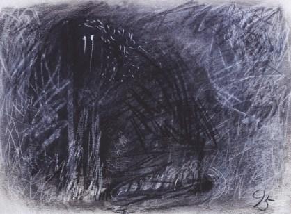 Pas (424), 1995., ugljen, pastel/papir; 57x76cm