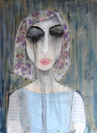 Maruša Štibelj - Crying inside out, kolaž na platnu