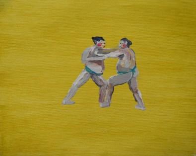 Alice Kemp - Sumo wrestling; ulje na platnu, 27.5x22cm, 2011
