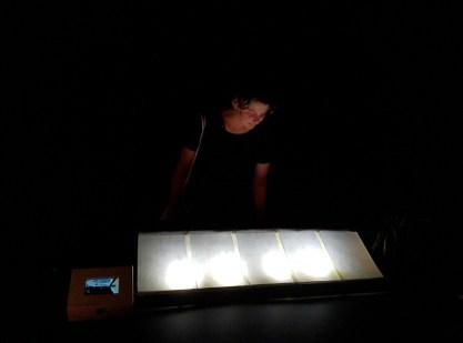 Ana Sladetić - Preserving, 2016. instalacija: video zapis+crtež na pausu, lightbox: 50x70x10cm