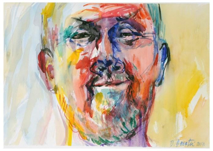 Branimir Dorotić - Autoportret, 2017., akvarel, 50x35cm