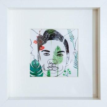 Ivana Mrčela - Animalno 2, 2017., flomaster na foliji, akril na papiru, 25x25cm