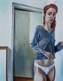 Marina Ćorić - Autoportret, 2016., akril na lesonitu, 35,5x28