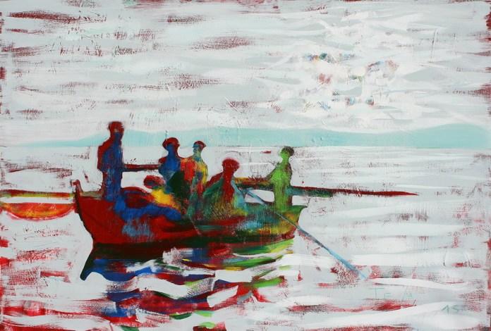 Na vesla - akril na lesonitu, 80x120cm, 2015.