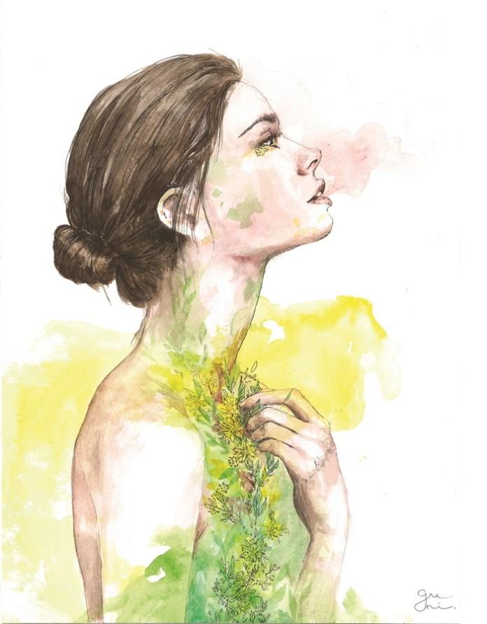 "Nikol Greplová - ""Najdublji rezovi, najjače korijenje""; grafitna olovka, rapidograf, akvarel, 32 x 41 cm, 2017."
