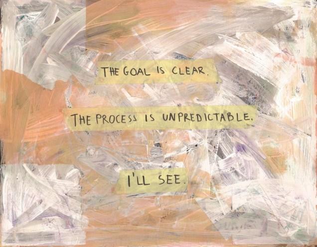 """Mia Maraković - """"Cilj je jasan, ali proces je nepredvidljiv""""; pastel, tuš, marker, akril, ljepilo, 41 x 32 cm, 2017."""