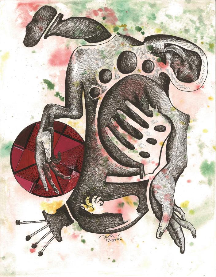 """Martin Frljić - """"Nesvjesni osjećaji""""; rapidograf, akril, akvarel, 32 x 41 cm, 2016."""