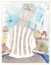 """Anastassia Kortsinskaja - """"Snovi o putovanjima""""; rapidograf, akvarel, 32 x 41 cm, 2016."""