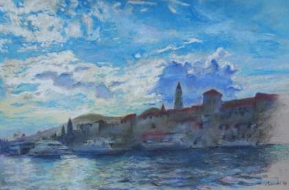 Mihovil Dorotić - Pejzaž 3, pastel na papiru, 2017.