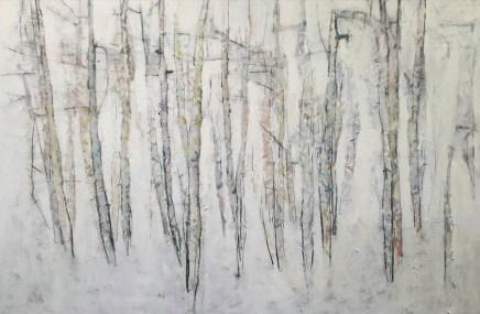 Bijela šuma 1 - kombinirana tehnika, 110x150cm, 2017.