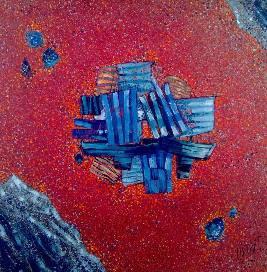 Iznad Velebita - akril i ulje na platnu, 80cm x 80cm, 2017.