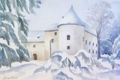 Dvorac u zimi - akvarel, 2011., 36x54cm