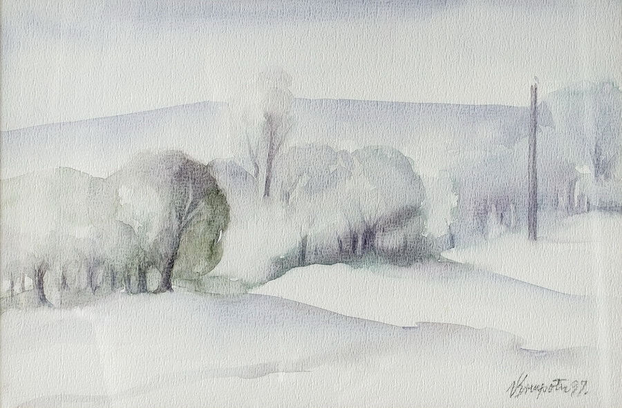 Zimsko jutro - akvarel, 1997., 25x40cm