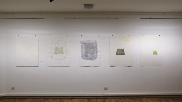 """Radovi iz ciklusa """"Ca je to traversa?"""", kombinirana tehnika (linorez, slijepi tisak, kolaž), 100x70cm, 2017."""
