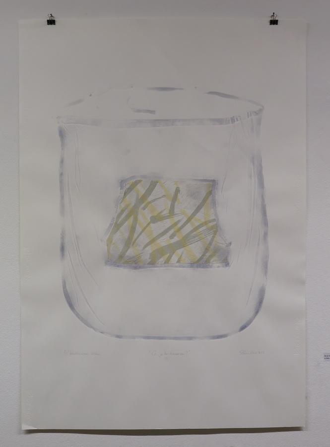 """Rad iz ciklusa """"Ca je to traversa?"""", kombinirana tehnika (linorez, slijepi tisak, kolaž), 100x70cm, 2017."""