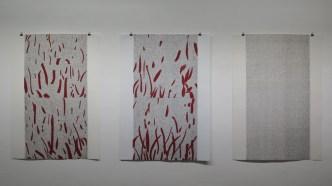Crveni tepih 1,2 i 3 - linorez, otisak crvenog tepiha, 98x70cm, 2015.