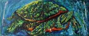 Kornjača - akril, miješani medij na platnu, diptih, 80 x 30cm, 2018.