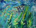 Akvarij - akril, miješani medij na platnu, 100 x 80cm, 2018.