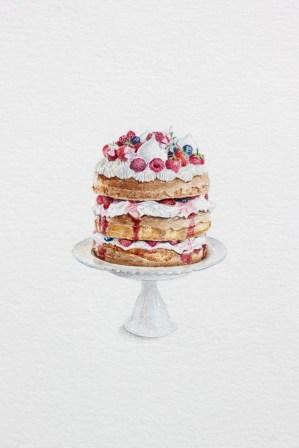 Eton Mess Cake - akvarel, akril, drvene bojice; 75 x 100 mm, 2018.