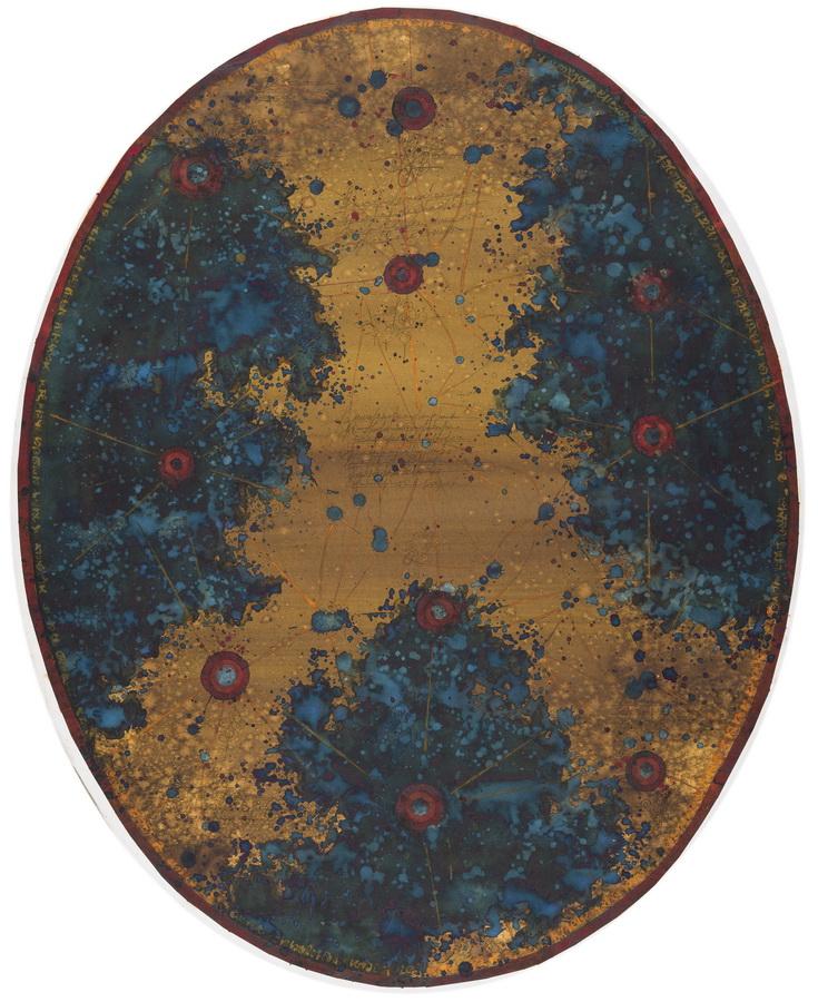 DODIRNO PODRUČJE TRI ASTEROIDNA OBLAKA S NAZNAČENIM DOMINANTNIM ASTEROIDIMA - akvarel na papiru, 120X80 cm