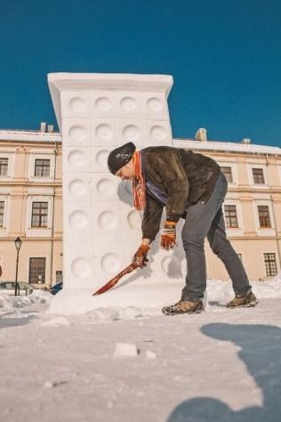 """Skulptura """"Kaljeva peć"""" - projekt 4 godišnja doba - Zima, materijal: snijeg, 2012."""