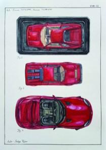 Miran Šabić - TAB IX - Auti- Ferrari i Dodge, akvarel, 50 x 35 cm, 2018.