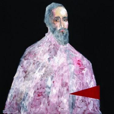 Portret s trokutom - akril, olovka i uljana boja na papiru, 100 x 100 cm, 2013.